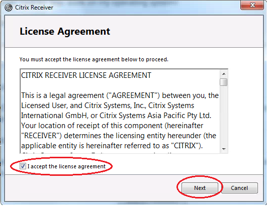 Accept License Agreement Citrix