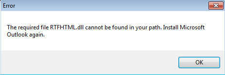 OUTLOOK 2010 RTFHTML DLL ERROR