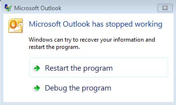 Outlook has stopped working