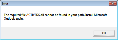 Outlook2010 ACTIVEDS DLL ERROR