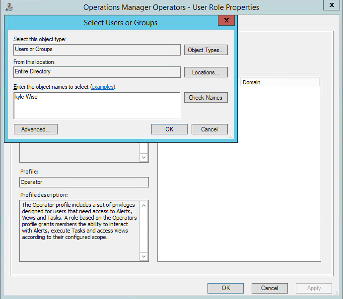 Add Kyle Wise SCOM Operator Role