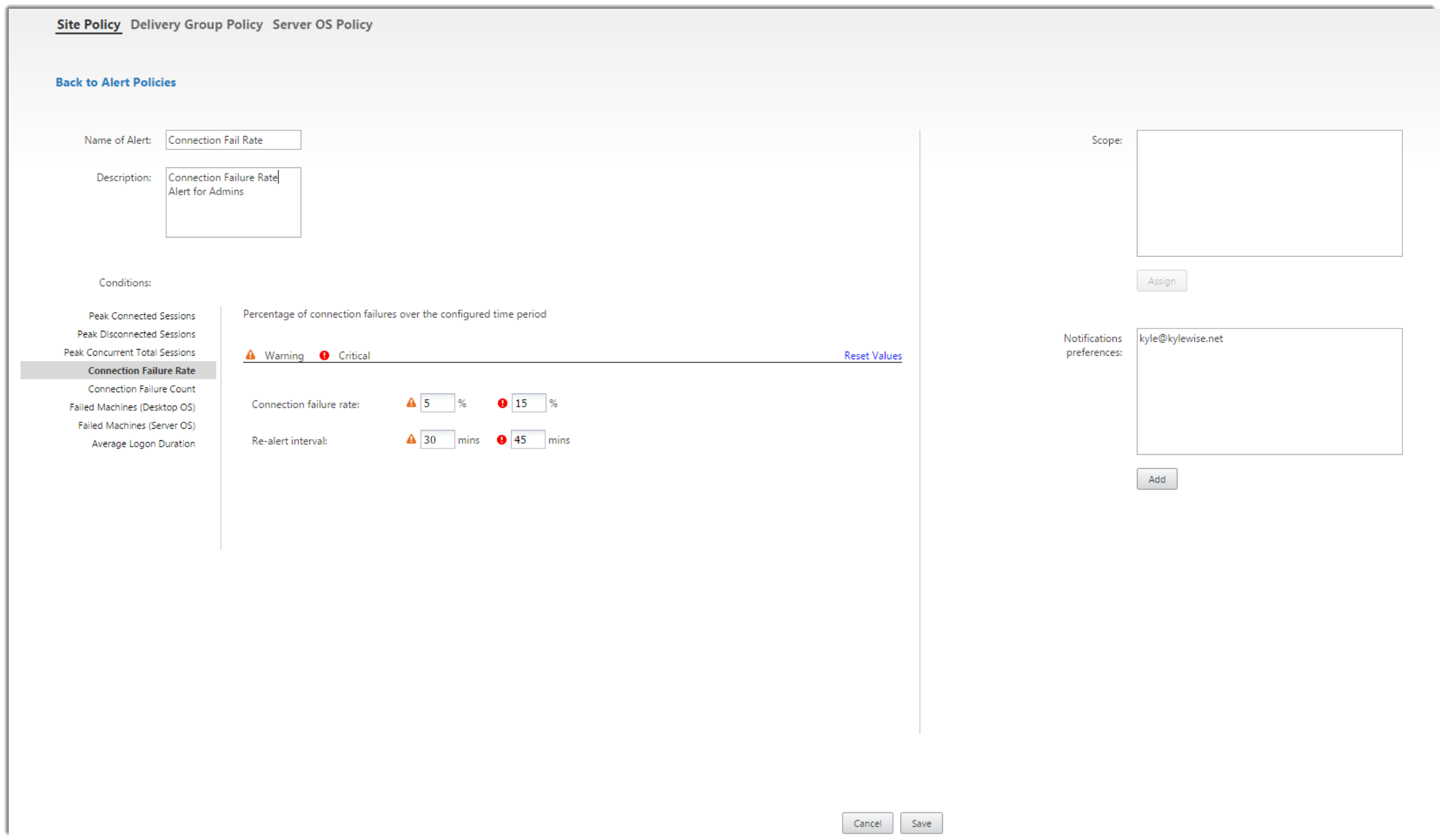 Citrix Director 7.7 Connection Failure Rate Alerts High Resolution Fix