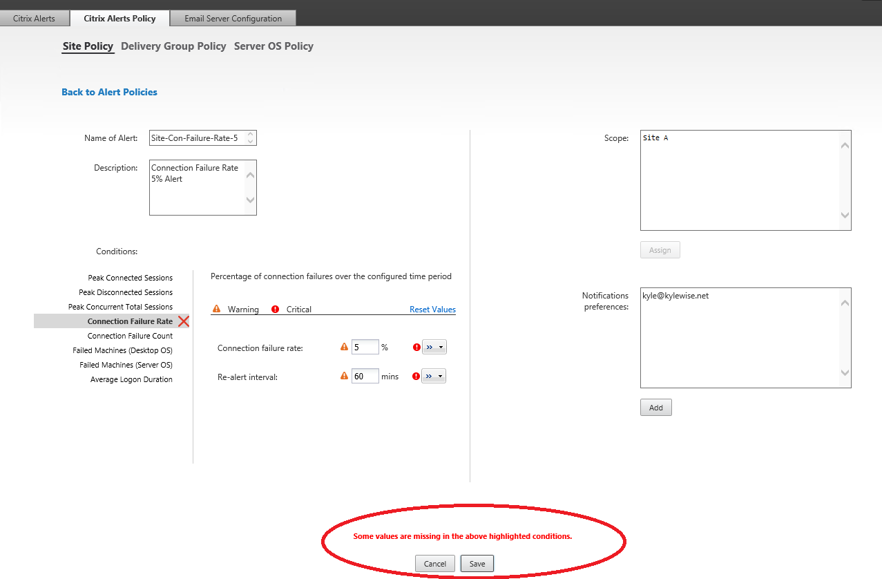 Citrix Director 7.7 Site Policy Alert Connection Failure Rate Percent