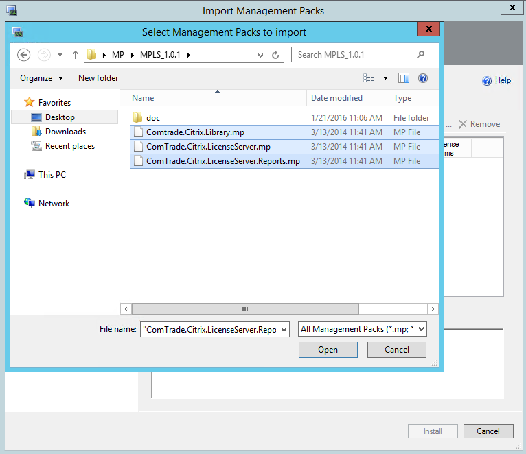 Comtrade Citrix License Server Import MP Files