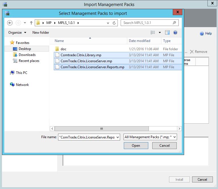 Comtrade Citrix License Server Import MP Files