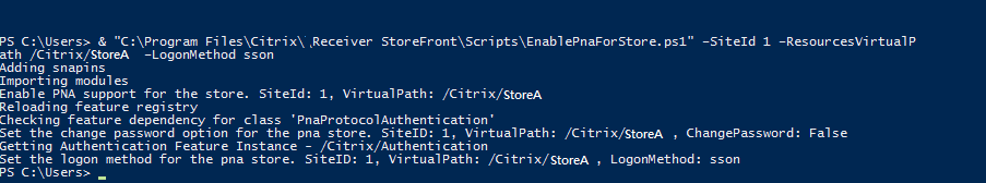 Enable PNAgent SSON PowerShell Command Line