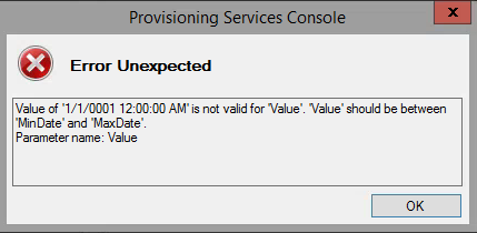 Provisioning Services Console Error Console Unexpected