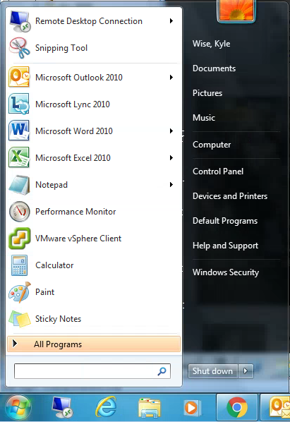 Start Menu Windows 7