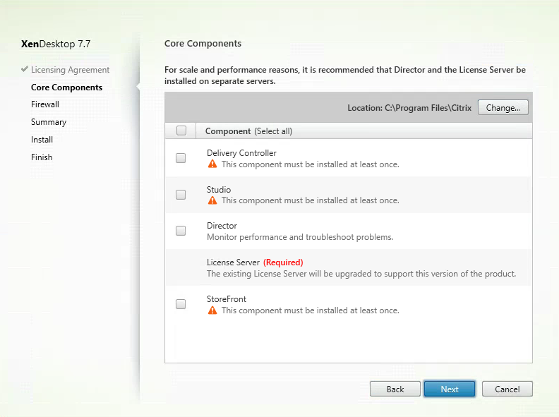 Uncheck All Components Except Citrix Licenses