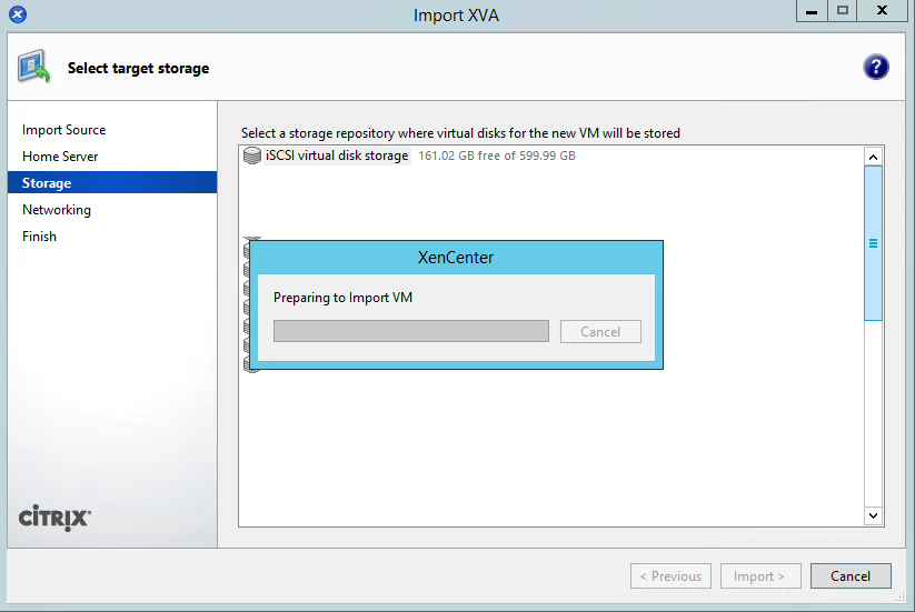 XenCenter Import Step 7 Storage Repository Location Importing