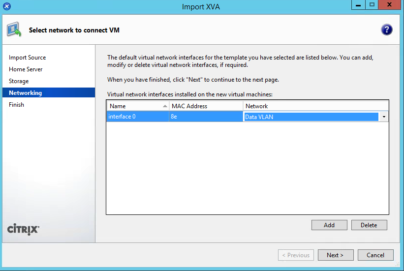 XenCenter Import Step 8 Network