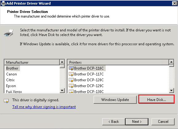 Add Print Driver Wizard 3