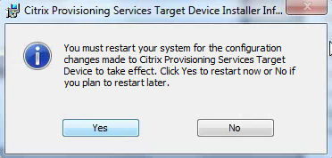 Citrix PVS 7.8 Target Tools Installation Completed Restart