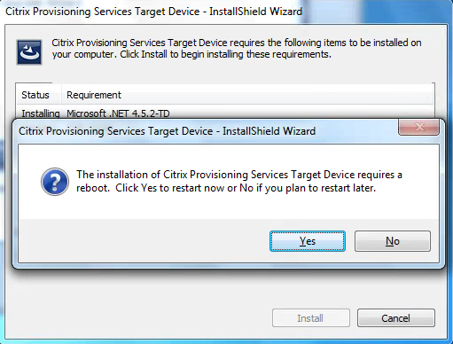Citrix PVS 7.8 Target Tools Installation Restart