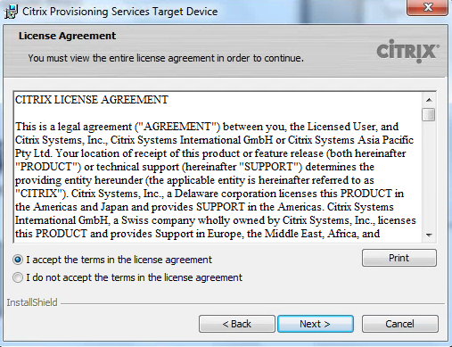 Citrix PVS 7.8 Target Tools License Agreement