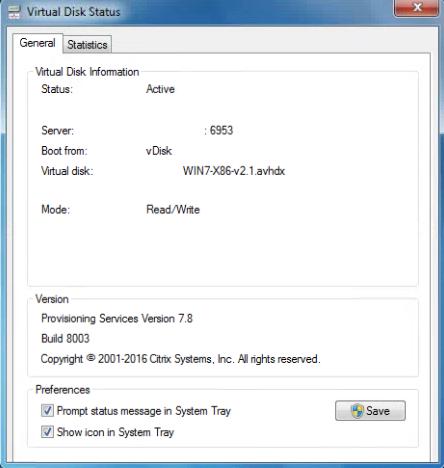 Citrix PVS 7.8 Target tools vDisk Summary