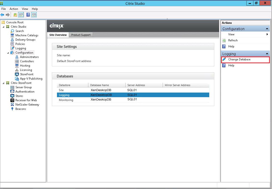 Citrix-Studio-Change-Database-Logging-1