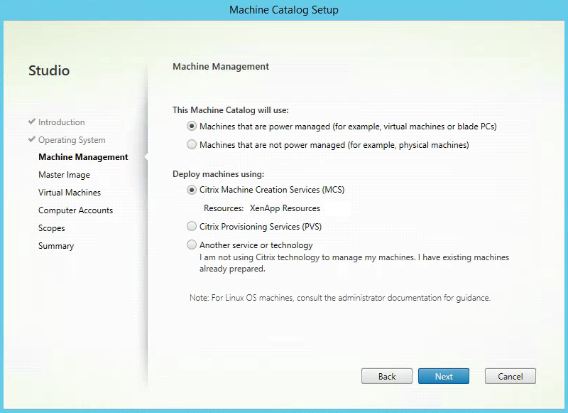 Citrix XenApp Create New Machine Catalog Manage Machines