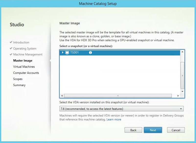 Citrix XenApp Create New Machine Catalog Master Image Selection