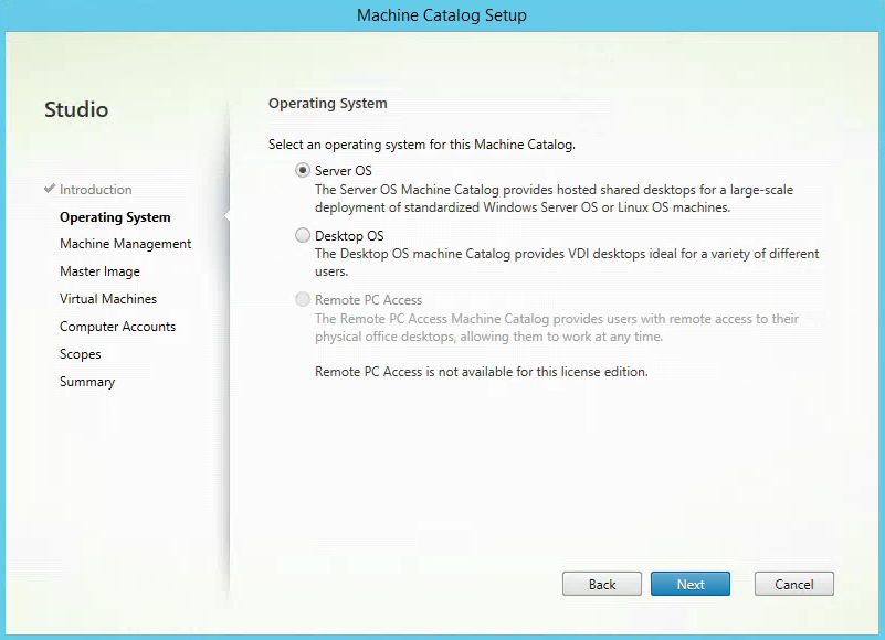 Citrix XenApp Create New Machine Catalog OS Selection