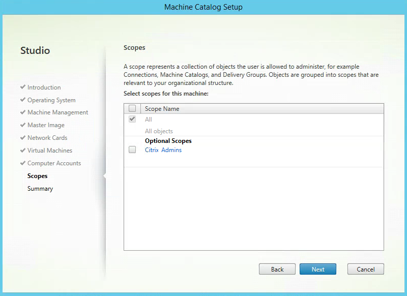 Citrix XenApp Create New Machine Catalog Scopes