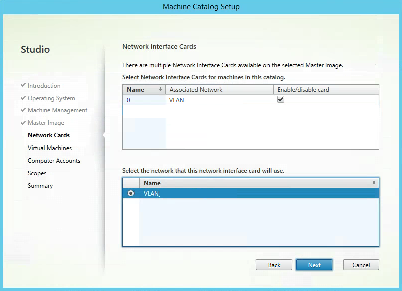 Citrix XenApp Create New Machine Catalog Select Networks1