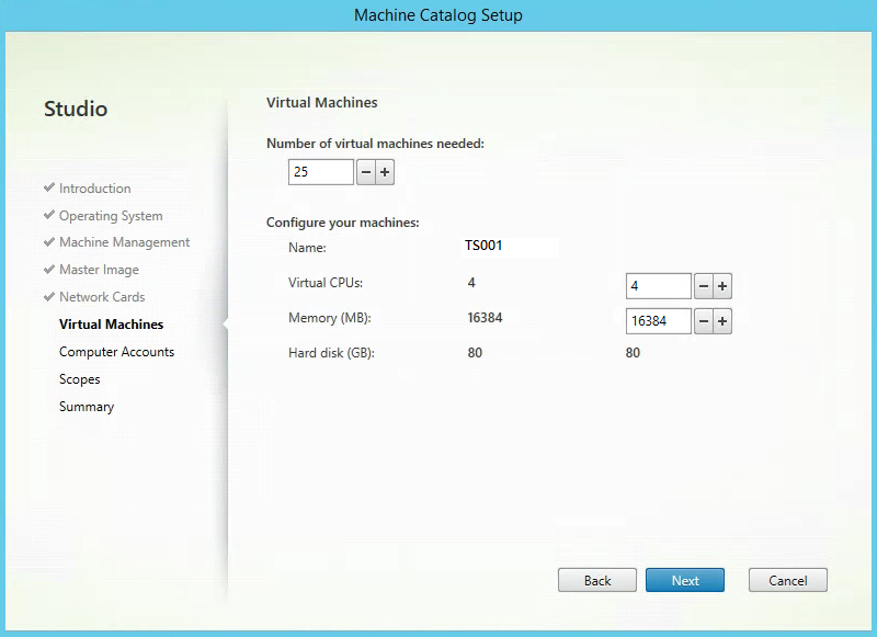Citrix XenApp Create New Machine Catalog Virtual Machines Count