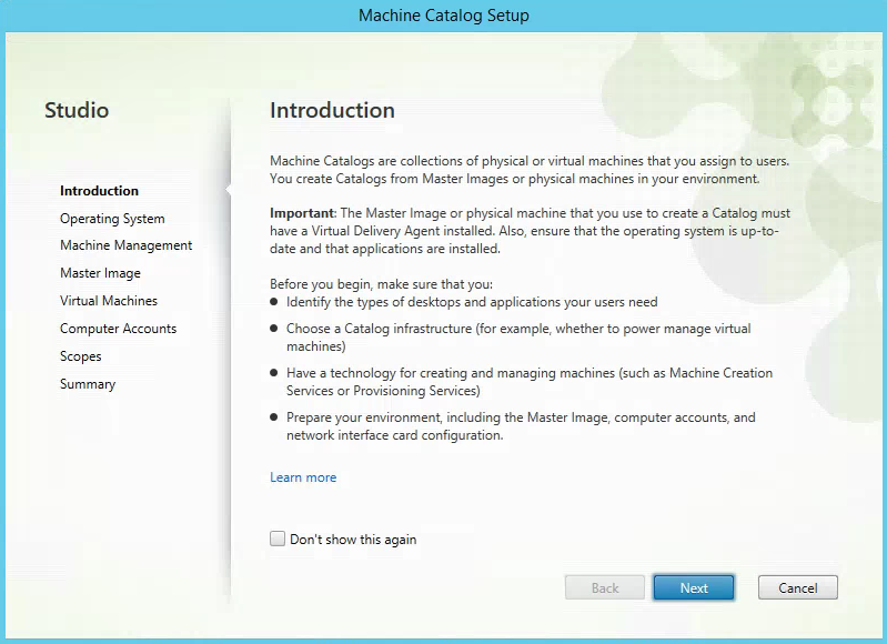 Citrix XenApp Create New Machine Catalog