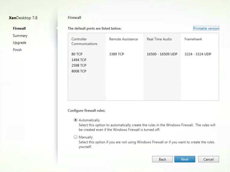 Citrix XenDesktop VDA Installation Firewall Settings