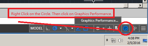 AutoCAD Graphics Performance Setting Right Click