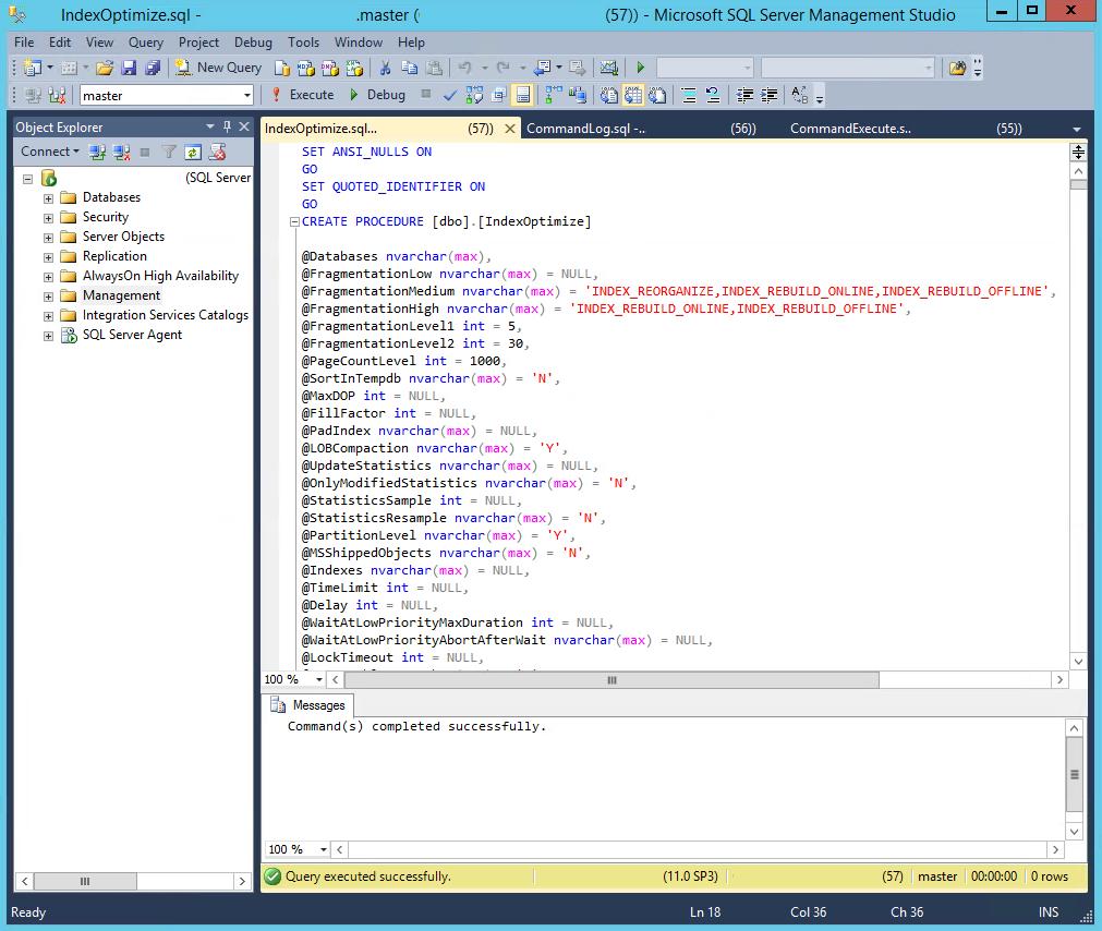 IndexOptimize Script Executed