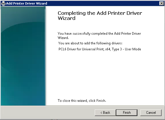 Print Driver Wizard Completed