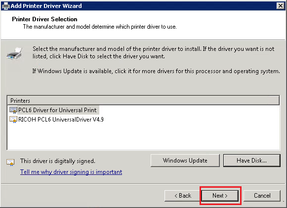 Print Driver Wizard Select Print Driver Next