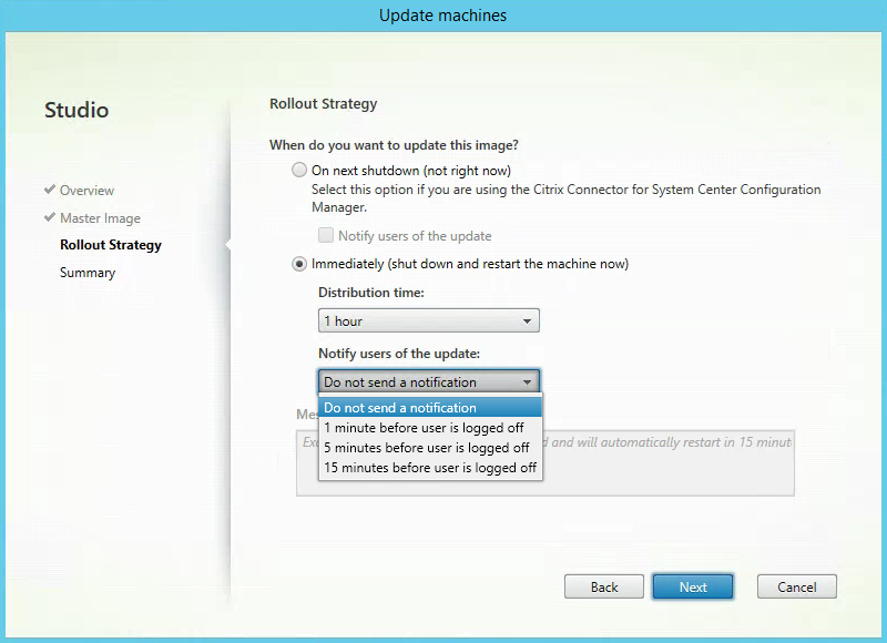 Rollout Strategy Citrix XenApp MCS Update Send Message 3