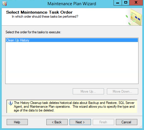 SQL Maintenance Plan Wizard Clean Up Order