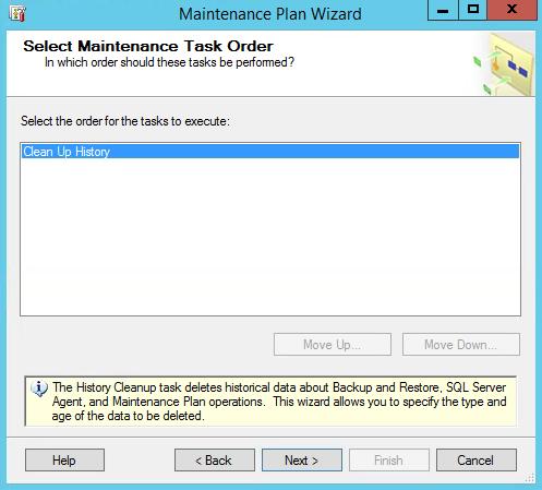 SQL Maintenance Plan Wizard Clean Up Order