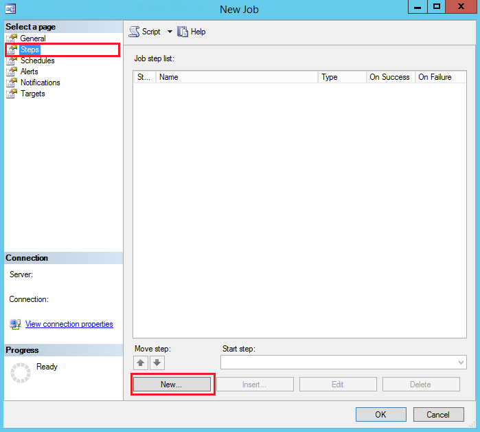 SQL Server Agent Job Steps Click New