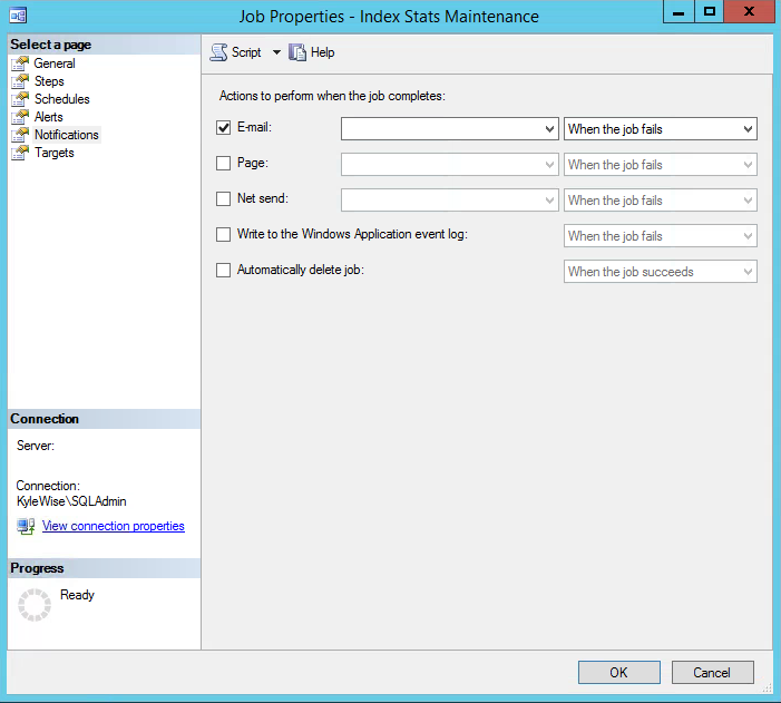 SQL Server Agent Jobs Email Notifications Settings