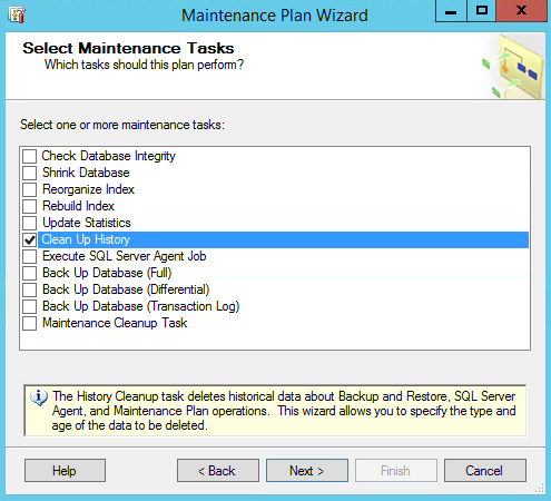 SQL Server Maintenance Plan Clean Up History