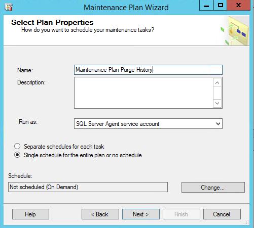 SQL Server Maintenance Plan Purge History