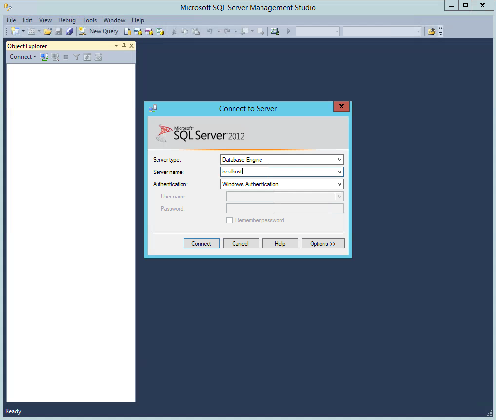 SQL Server Management Studio Login