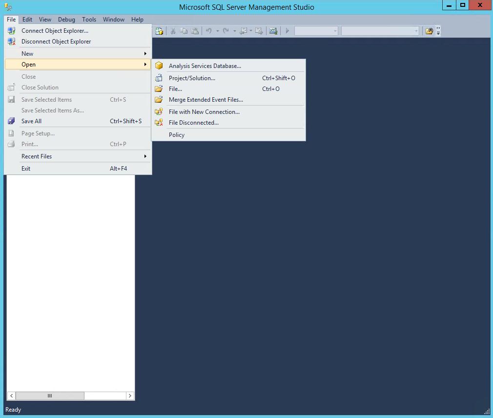 SQL Server Management Studio Open Files