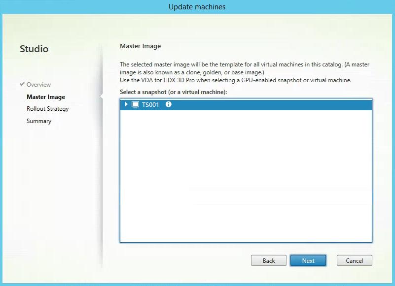 Select Master Image XenApp MCS 2