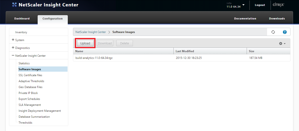 Upload Netscaler Insight Center Firmware Upload