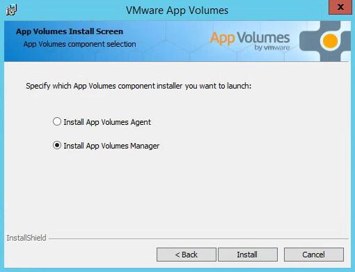 VMware App Volumes Install Screen Manager Install