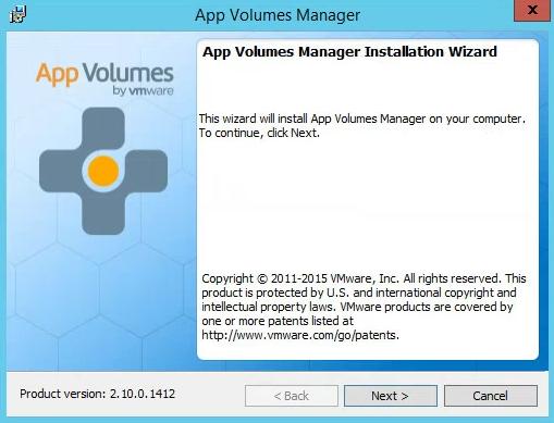 VMware App Volumes Installation Wizard Next