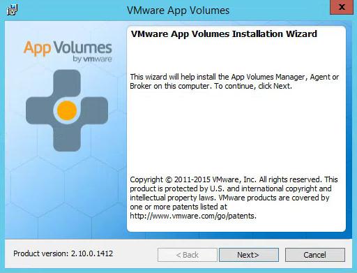 VMware App Volumes Installation Wizard Start