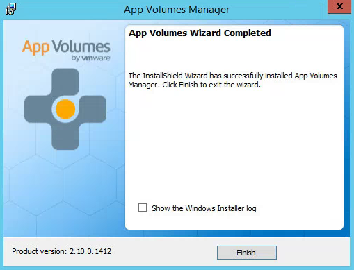 VMware AppVolumes Installation Completed