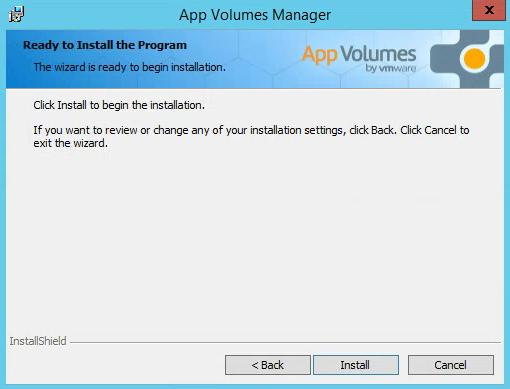 VMware AppVolumes Summary Ready To Install