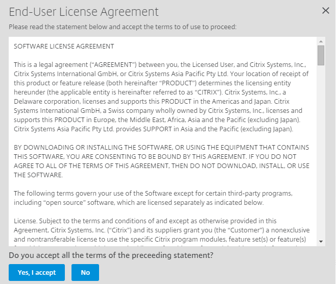 Yes I accept Citrix License Agreement